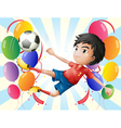 A soccer player with balloons vector image