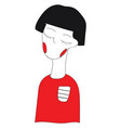 abstract cartoon a short haired girl in red vector image
