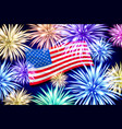 aerial fireworks display behind a fluttering usa vector image vector image