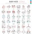 Baby kids ultra modern outline line icons vector image vector image