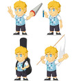Blonde Rich Boy Customizable Mascot 7 vector image vector image