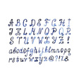 Blue watercolor alphabet Hand drawn artistic font vector image vector image