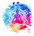 buddha over watercolor background vector image