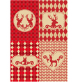 Christmas deers with patterns vector image