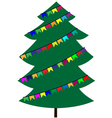 Christmas tree with flags vector image vector image