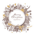 circle frame or banner made with christmas plants vector image