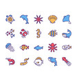 color linear icon set sea life objects vector image