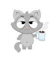 cute cartoon sleepy cat with a cup of coffee in vector image