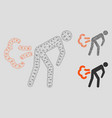 fart mesh 2d model and triangle mosaic icon vector image vector image