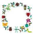 Funny insects Spider butterfly dragonfly mantis vector image