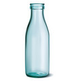 glass milk bottle empty clear on white 3d vector image vector image