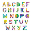 hand drawn latin artistic alphabet vector image