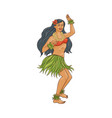 hawaiian dancer girl with flower in her hair and vector image vector image