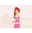 Housewife cooking muffins in the kitchen vector image