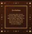 invitation brown decorated with gold and diamonds vector image