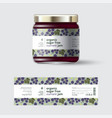 jam black currant label packaging jar sugar free vector image vector image
