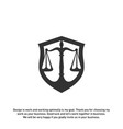 law office logo in the form of shield with greece vector image vector image