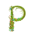 Letter P floral latin decorative character vector image vector image