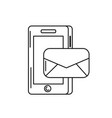 line smartphone technology with e-mail message vector image vector image