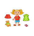 little girl her dress skirt shoes teddy bear vector image vector image