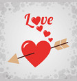 love heart with arrow romantic design vector image