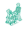 man push shopping cart with friend and gift box vector image