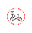 no or stop sign bicycle parking line icon bike vector image vector image