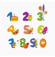 numbers from zero to nine vector image vector image