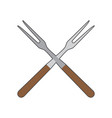 pair of barbecue forks vector image