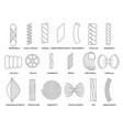 pasta noodles lineart outline icons set vector image