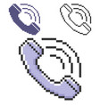 pixel icon handset in three variants fully vector image vector image