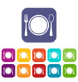 place setting with platespoon and fork icons set vector image vector image