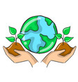 plant tree on the world doodles vector image vector image
