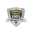 premium product label silver shield with ribbon vector image vector image