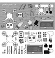 quadcopter kit on table line monochrome vector image vector image