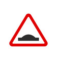 red triangle speed bumps road sign vector image