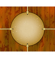 Round cardboard frame on the ropes vector image