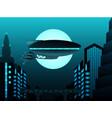 science fiction zeppelin in front of urban vector image vector image