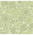 seamless pattern with flowers in green color vector image