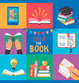 set 9 icons with book concepts vector image
