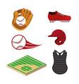 set baseball sport uniform and professional vector image vector image
