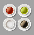 set of ceramic cups with beverages of coffee vector image