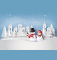 snow man in the village vector image vector image
