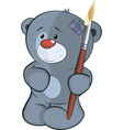 The stuffed toy bear cub the artist cartoon vector image vector image