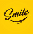 typography smile on yellow background vector image vector image