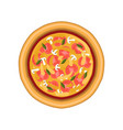 vegetarian pizza with tomato mushroom and basil vector image vector image