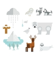 Wild north arctic animals symbols vector image