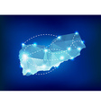 Yemen country map polygonal with spot lights vector image vector image