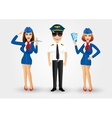young friendly pilot and two stewardesses vector image vector image