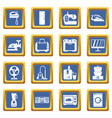 household appliances icons set blue vector image